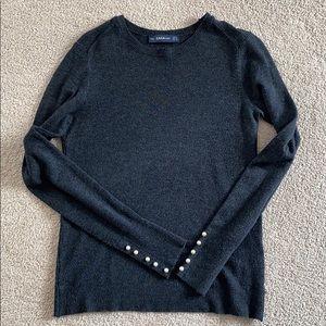 Zara Grey Sweater with pearls (size S)